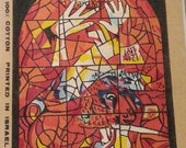 Vintage Jewish Marc Chagall Stained Glass Window Series Canvas Needlepoint Wall Art Judaica