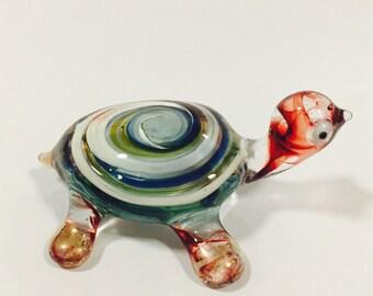 Figurine Animal Miniature Hand Blown Glass Turtle.