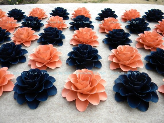 papier fleurs corail clair ou saumon bleu marine fleurs