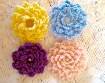Crochet Flower Hair Clips ~ Crochet Hair Clip Flowers with Vintage Button Centers ~ Pink Purple Yellow Baby Blue ~ Girls Crocheted Clip