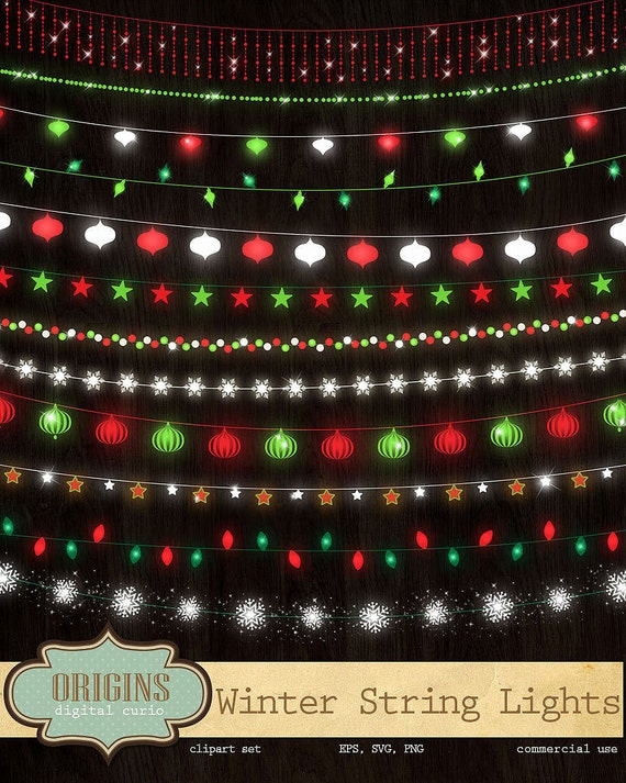 Festive Winter String Lights Clipart Red and Green Holiday