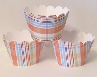 Set of 6 Orange Plaid Cupcake Wrappers, Party decorations, cupcake holders, party supplies, cupcake wraps, cupcake sleeves, paper goods