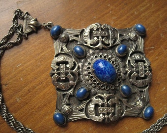 Czech Art Deco Blue Glass Brass Pendant - 174