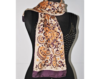 Vintage silk long scarf / Paisley print /  Purple pink light brown / oblong scarf / hand rolled hem
