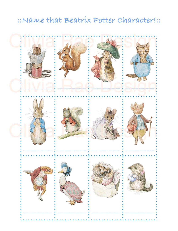 Beatrix Potter Worksheets : Peter rabbit baby shower game name that beatrix potter