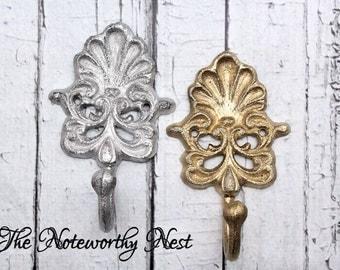 Wall hook // bedroom hook // key hook // towel hook // bathroom hook // bedroom hook // gold and silver decor // silver hook // gold hook