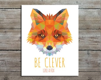 Fox Art Print - Woodland Nursery Decor - Orange Wall Art - Baby Shower Gift - Kids Room Decor