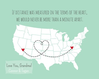 Long Distance Mother's Day Gift For Grandma from Grandkids Mother's Day Gift Oma Mother In Law Gift for Grandparents State Map Mother's Day