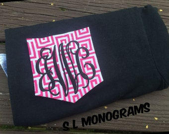FLASH SALE greek key monogram pocket shirt