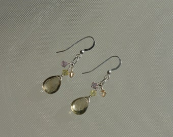 Lemon bouquet earrings. Lemon topaz briolettes with Swarovski crystals and sterling silver.