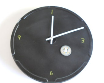 Large Magnetic Black Chalkboard Round Wall Clock With White Clock Hands
