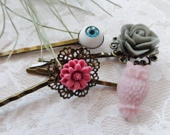 Eye, Owl And Flower Hair Clips