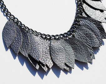 Metallic steel colored leather necklace