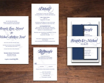 Simple and Elegant Formal Calligraphy Wedding Invitation Set Made to Order any color Elegance Modern Belly Band