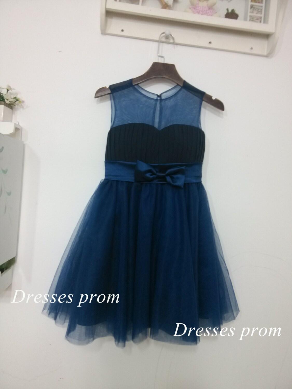 Navy Blue Tulle Flower Girl Dress Infant Toddler by