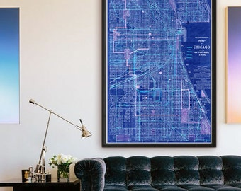 "Map of Chicago IL 1908, Old Chicago map in 4 sizes up to 36x54"" Large map of Chicago Illinois US, also in blue - Limited Edition of 100"