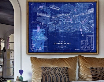 "Map of Johannesburg 1897, Old Johannesburg map up to 48x36"" (120x90cm) Large map of Johannesburg South Africa - Limited Edition of 100"