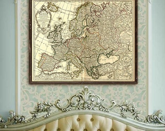 "Old map of Europe 1724, Historical Europe map, 4 sizes up to 43x36"" (110x90 cm) Detailed French map of Europe  - Limited Edition of 100"