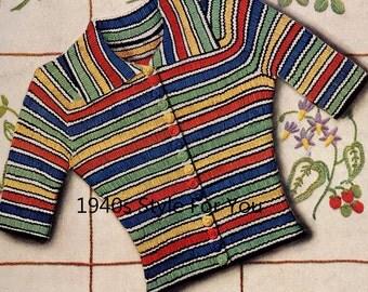 1930's Needlework Illustrated PDF Knitting Pattern - Vintage Knitting Pattern  - 1930's Jumper Cardigan - Easy Stripe Jumper - Ribbed