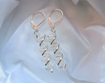 925 Stering Silver DNA Spiral Leverback Drop Dangle Earrings
