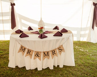 Mr and Mrs Wedding Banner, Mr and Mrs Burlap Wedding Banner