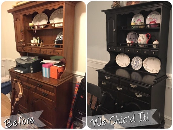 For K...Refinished Dining Room Table Chairs Buffet/Hutch &