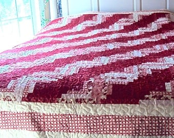 Red and White Log Cabin Quilt -Handmade Queen Size Quilt--Christmas Gift