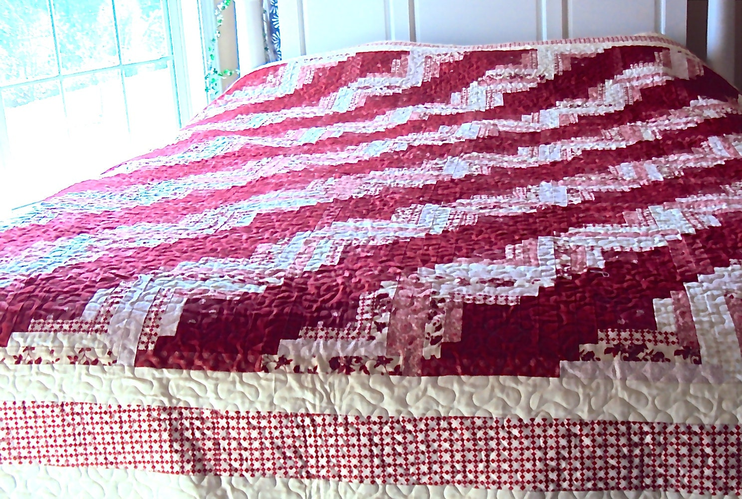 Red and White Log Cabin Quilt Handmade Queen Size