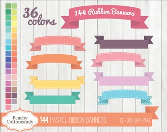BUY 2 GET 1 FREE 144 Pastel Digital Ribbon Banners Clipart - baby ribbon banner clip art - cute stitched ribbons clipart - Commercial Use Ok