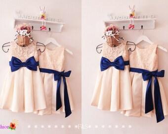 Lace Flower Girl Dress, Lovely Bow Flower Girl Dress,Girl's Birthday Dress,Wedding Flower Girl Dresses,Flower Girl Dress Custom