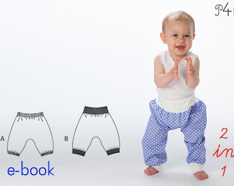baby bloomers pattern, babypants, sweatpants, pants for boy + girl, trousers, longies, infant, ebook sewing pattern
