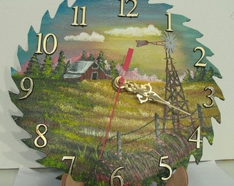 Painted Steel Saw Blade Clock with Barn and Windmill