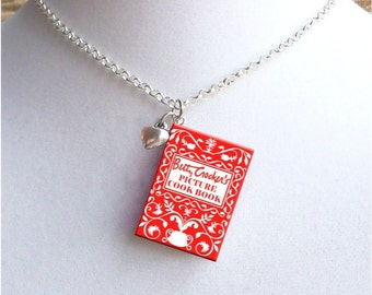 Cookbook with Tiny Heart  Charm - Miniature Book Necklace