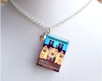 Great Expectations with Tiny Heart Charm - Miniature Book Necklace
