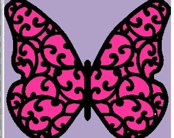 Scrollwork Butterfly Crochet Graphghan Pattern