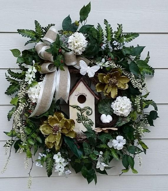 Large Birdhouse Wreath Spring Wreath Summer Wreath