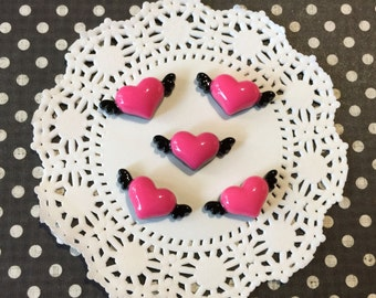 Flying Heart Cabochon, Pink and Black Heart Cabochons ( 5 pieces ) Kawaii Decoden Cabochons