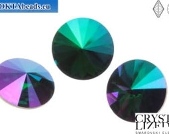 SWAROVSKI 1122 14mm Rivoli - Emerald Purple Haze