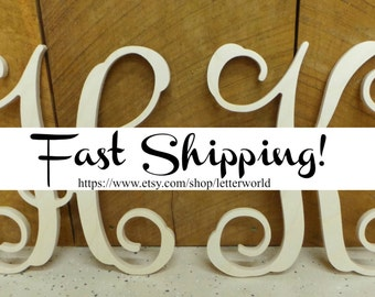 "SALE!!  Two 12"" Unpainted Wooden Letters - Vine Script Initial - Monogram Wall Hanging - Monogram Door Hanger"