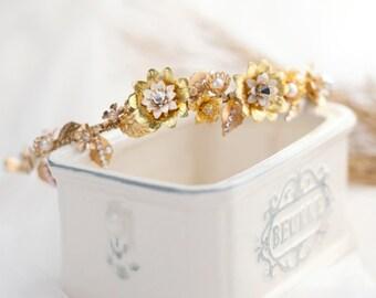 Bridal Headpiece, Wedding Headpiece, Bridal Headband - EDNA - Bridal Gold Majestic Floral Semi-Crown/ Headpiece