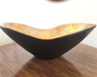 Vintage Sascha Brastoff Mid Century Modern MCM Bowl Black Gold