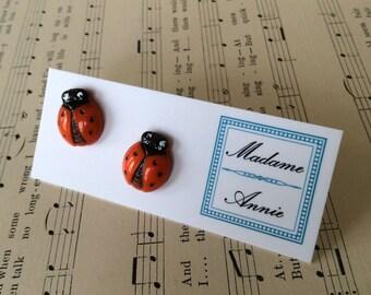 Vintage Glass Ladybug Earrings