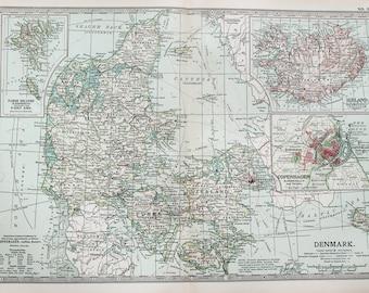Antique Map : Denmark, Iceland, Faroe Islands. Encyclopedia Britannica, 1890s