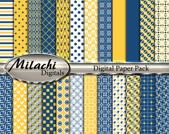 """Midnight Blue and Sunglow digital paper pack, 8.5"""" x 11"""" scrapbook papers, backgrounds -Commercial Use - Instant Download -M259"""