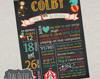 Circus Theme Birthday Chalkboard Sign - First Birthday chalkboard - Birthday Sign - Carnival, Circus - Digital Print