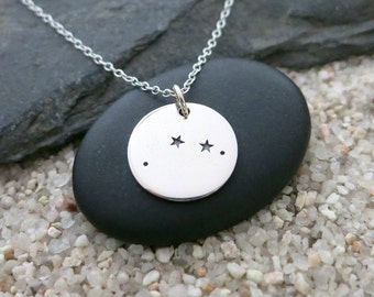 Aries Constellation Necklace, Sterling Silver Aries Constellation Charm, Zodiac Jewelry