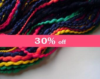 Hand Spun Multi-Colored Merino Wool, Thick and Thin Thread Plied Yarn, 3.5 oz, 66 yards