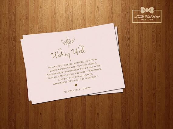 Wishing Well Printable Pink Gold Wedding Wishing Well Card