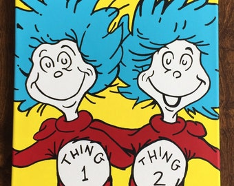"Thing 1 and Thing 2 inspired by Dr. Seuss: 12"" x 12"""
