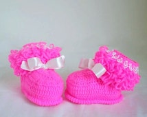 Crocheted Pink Baby Girl Booties, Soft Cute First Shoe, Boutique Model Booties, Gift Idea, Knitted Baby Clothes